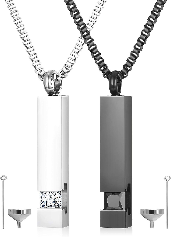 Milacolato 2 Piezas Colgante de urna de cremación Collar para Memorial Acero Inoxidable Negro con CZ Collar Joyería de Cenizas Recuerdos