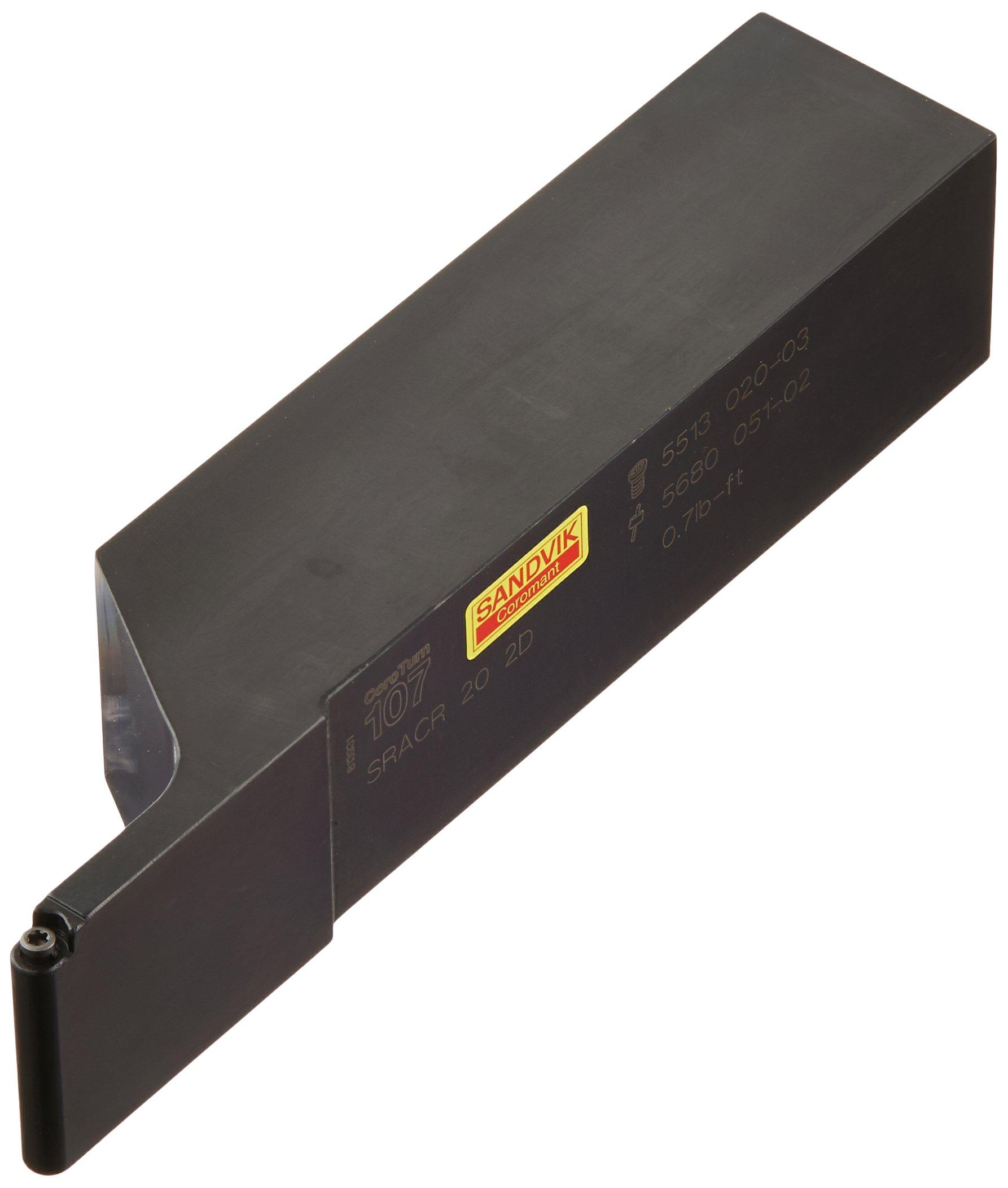 Sandvik Coromant SRACR 20 2D Turning Insert Holder, Square Shank, Steel, External, Screw Clamp, Right Hand, 1-1/4'' Width x 1-1/4'' Height Shank, 6'' Length x 1.3252'' Width, RCMT 22 Insert Size