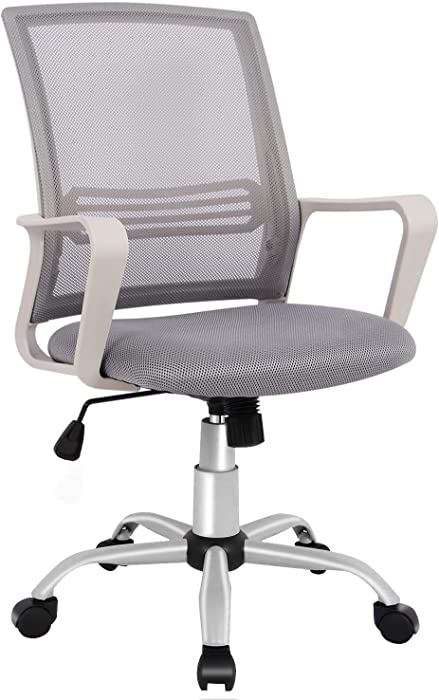 Office Chair, Mid Back Mesh Office Computer Swivel Desk Task Chair, Ergonomic Executive Chair with Armrests
