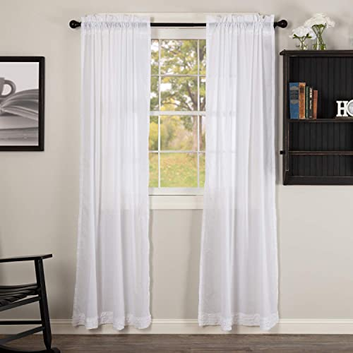 VHC Brands Classic Country Farmhouse Window Ruffled Sheer Curtain Panel Pair, Soft White