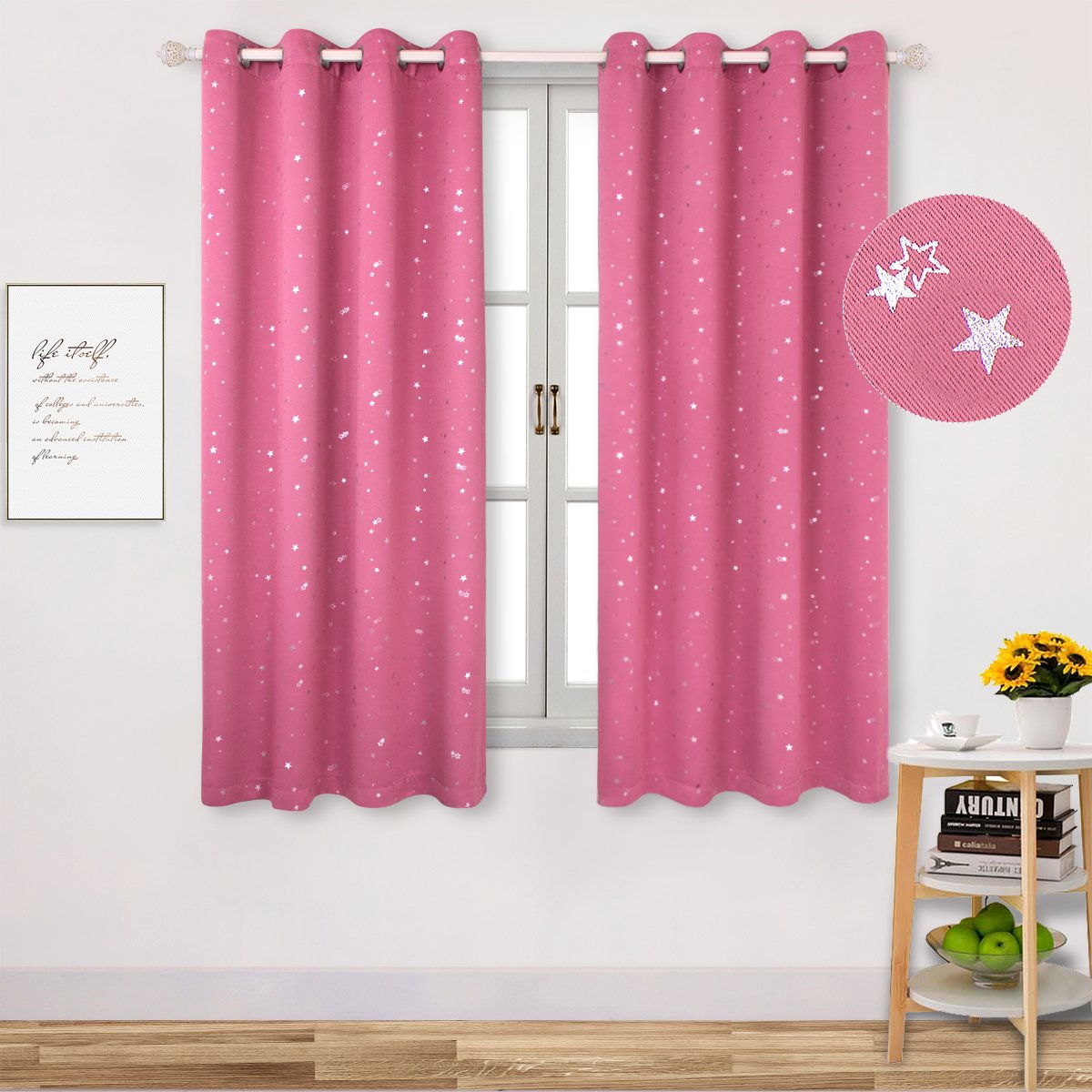BGment Room Darkening Curtains for Kid's Room- Silver Star Foil Printed Window Drapes for Bedroom, Grommet, 2 Panels (52'' Wx63 L Each Panel,Pink)