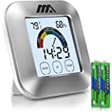 ADORIC [2018 UPGRADE] Hygrometer Room Thermometer Humidity Meter, Latest Indoor Thermometer Digital Hygrometer Stylish Silver With Time&Alarm Function