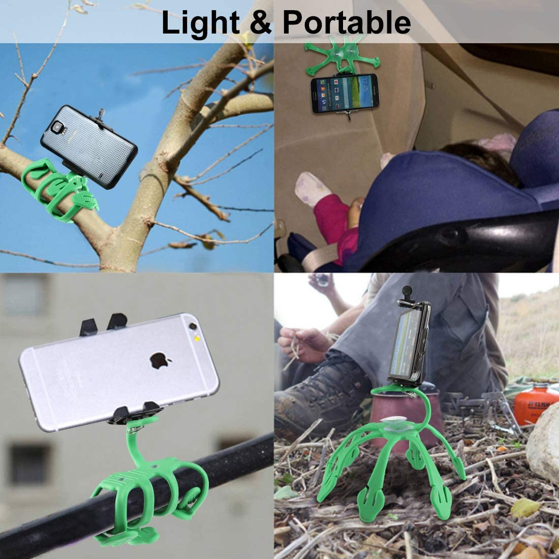 Record video Flexible Octopus Tripod Mobile Phone Stand Support Selfie Bluetooth Remote Compatible with Apple/&Android Devices Portable Phone tripod with Remote Interview Green Tripod for iPhone