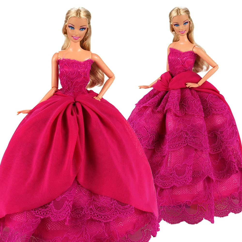 Amazon Barwa Pink Princess Evening Party Clothes Wears Train