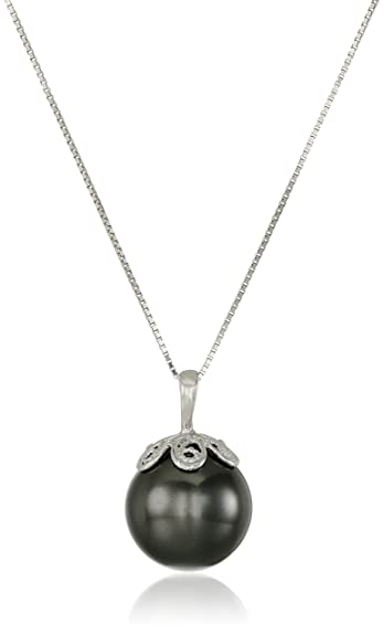 Amazon sterling silver black simulated shell pearl pendant amazon sterling silver black simulated shell pearl pendant necklace 13mm jewelry mozeypictures Image collections