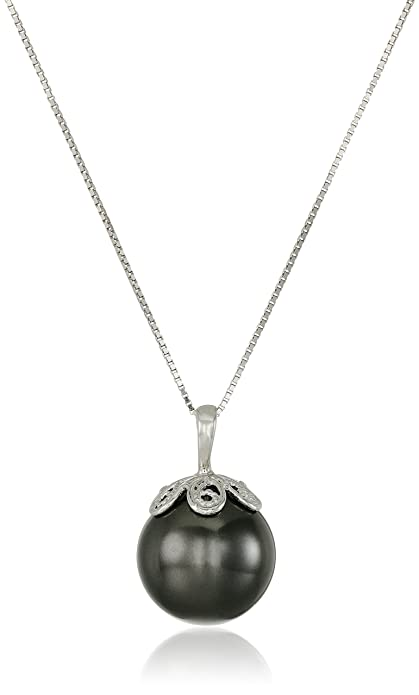 5da61a90b Amazon.com: Sterling Silver Black Simulated Shell Pearl Pendant Necklace  (13mm): Jewelry