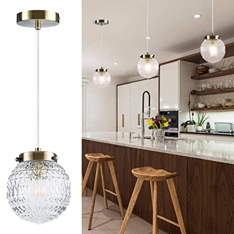 Retro Industrial Pendant Light, Glass Globe Living Room Dining Room Kitchen  Island 1-Light Adjustable Ceiling Hanging Lighting Fixture