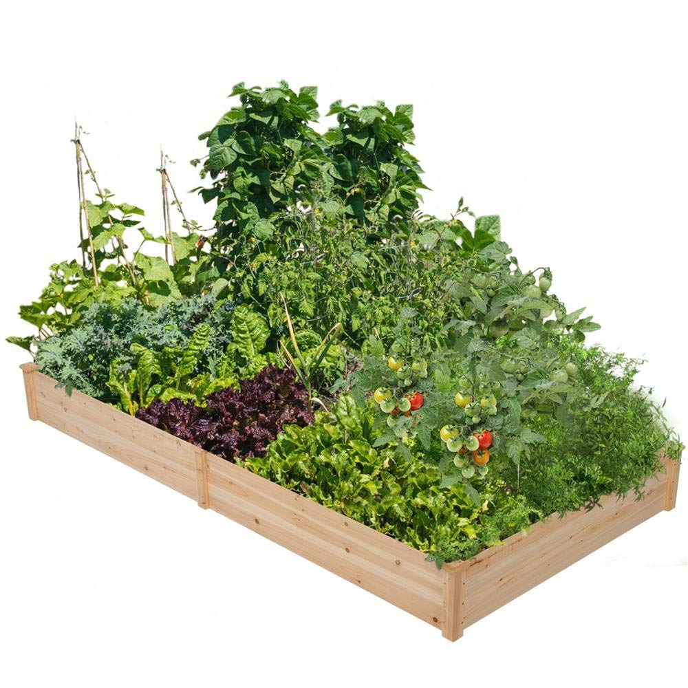 Yaheetech Wooden Raised Garden Bed Kit Planter Box for Vegetables Natural Wood 97 x 48.5 x 10in by Yaheetech