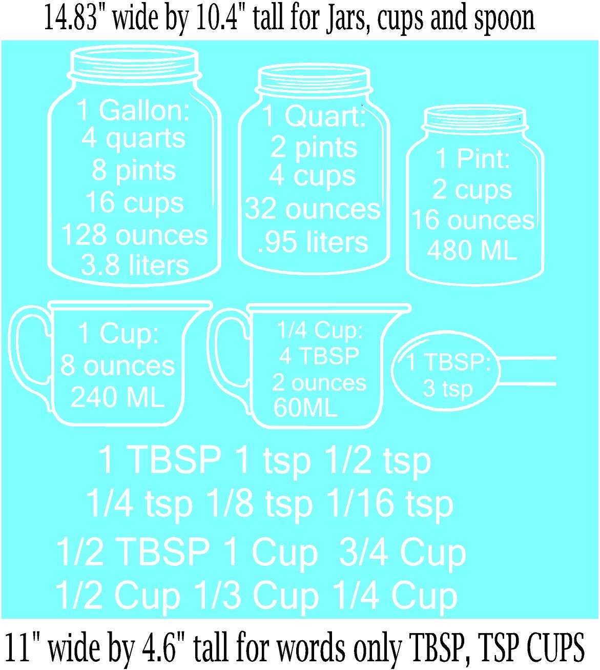 Amazon.com: Measuring Cups DECAL with measurement converters for ...