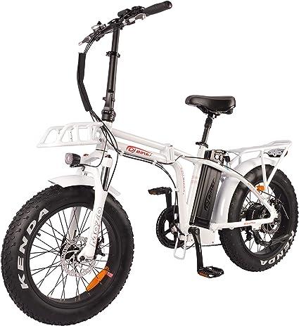 DJ Bicicleta Plegable 750W 48V 13Ah Potencia Bicicleta Eléctrica 7 Velocidades Blanco Perlado Luz LED Bicicleta Horquilla de Suspensión y Cambio Shimano: Amazon.es: Deportes y aire libre