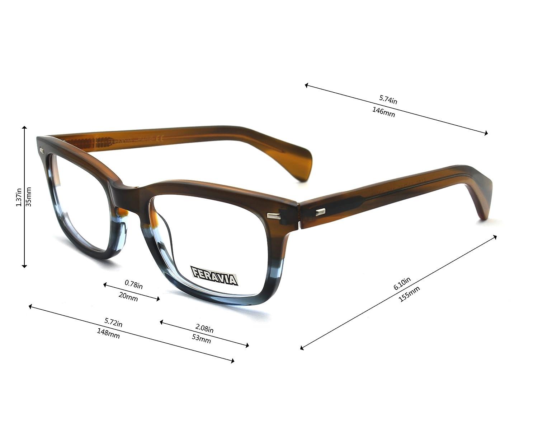 Men Eyeglasses Strong Look Bold Rectangular Clear Lens Two Toned Acetate Frame