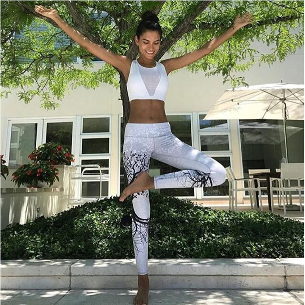 Yoga y Ejercicio Mujer Leggings Deportivos Fossen Patr/ón de /árbol Pantalones Largos para Fitness,Running