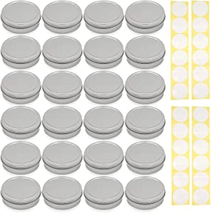 SimbaLux Screw Top Round Steel Tin Cans 4 oz (120 ml) with Self Adhesive White Round Stickers, 24-Pack