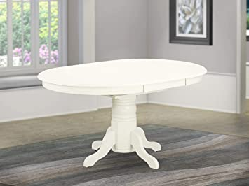 Amazon Com East West Furniture T Avt Lwh Tp Butterfly Leaf Oval Top Surface And Linen White Finish Pedestal Legs Hardwood Frame Dining Room Table Medium Furniture Decor