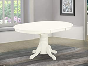 "AVT-LWH-TP Oval Table with 18"" Butterfly leaf - Linen White"