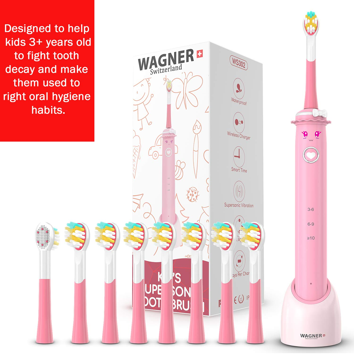 WAGNER Switzerland SuperSonic toothbrush for girls 8 reversible brush heads for teeth and tongue cleaning with DuPont bristles Vibration Speed Control Wireless charging w Smart Timer. Waterproof