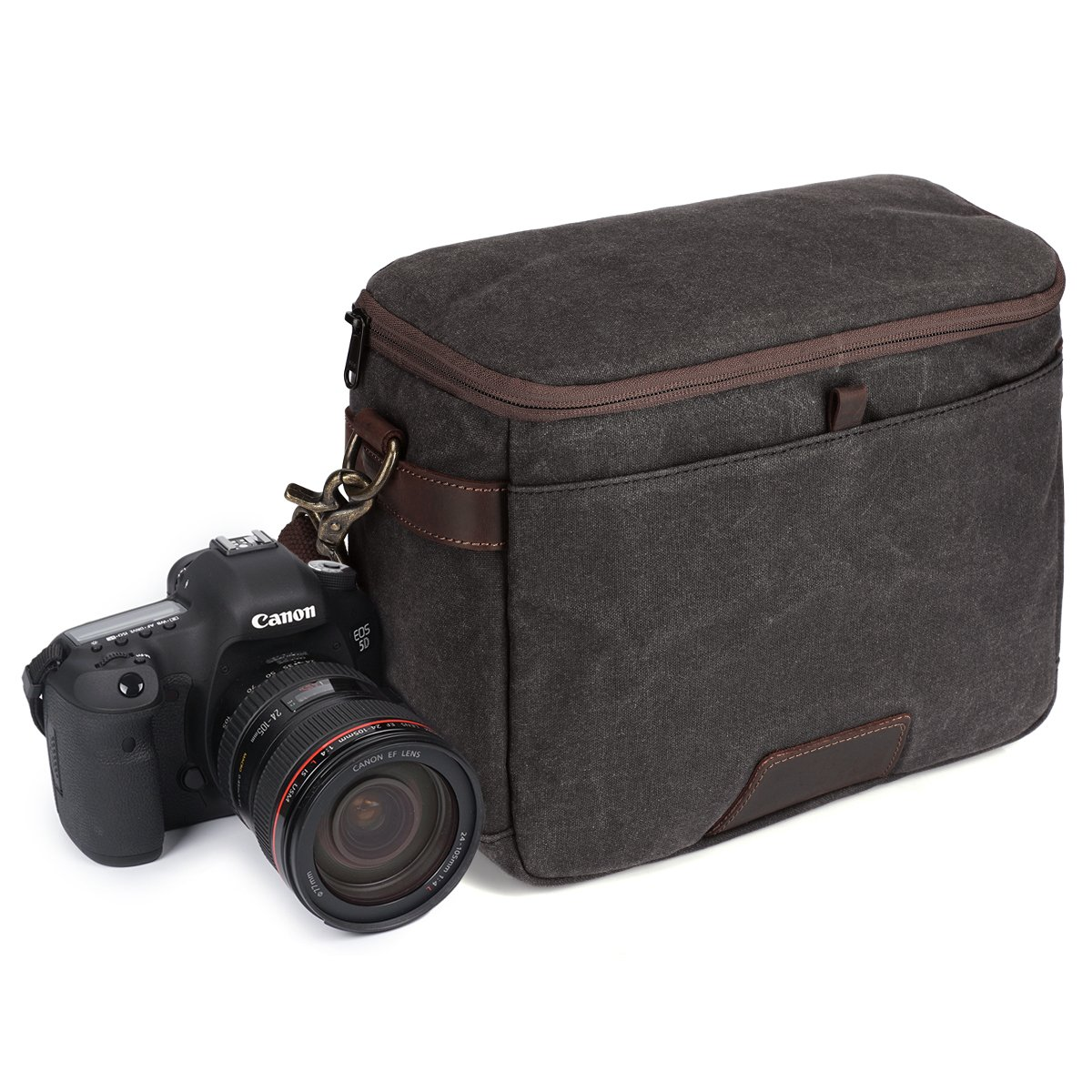 S-ZONE Waxed Canvas Leather Trim Camera Bag Messenger Shoulder Bag for Nikon, Canon, Sony DSLR and Lenses
