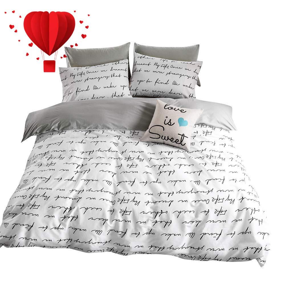 BuLuTu Love Letters Print Modern Men Duvet Cover Set King White Gray 100  Percent Cotton,Lightweight Premium Teen Adults Bedroom Bedding Sets with ...