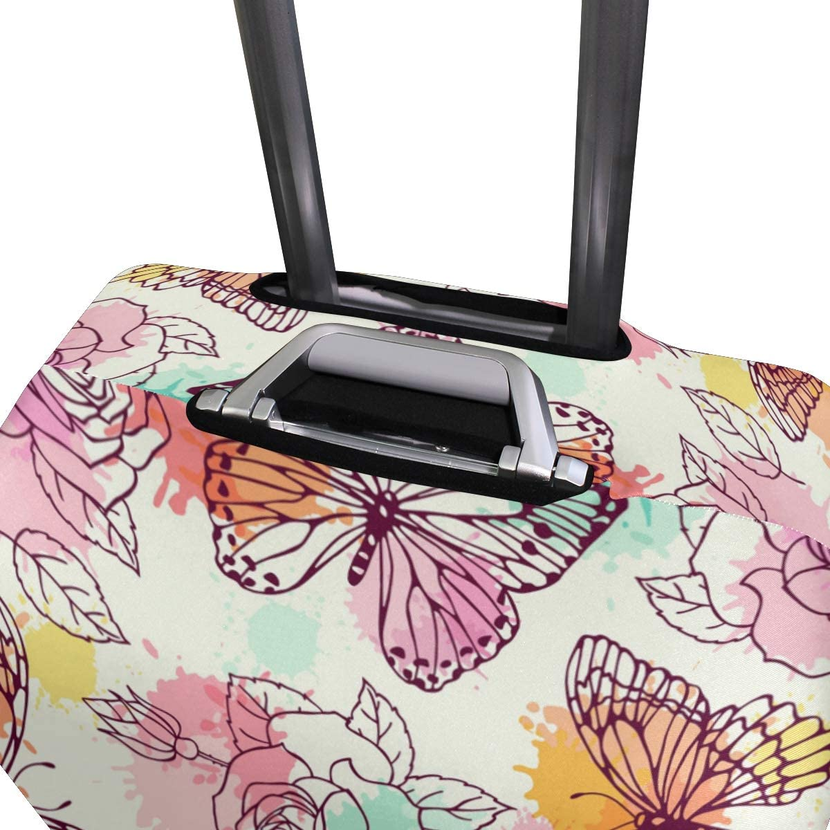 FOLPPLY Vintage Retro Butterfly Rose Pattern Luggage Cover Baggage Suitcase Travel Protector Fit for 18-32 Inch