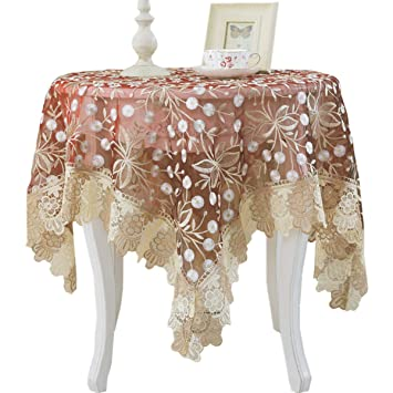 Vintage Brown Embroidered Lace Table Cloth Cover Topper Floral Tablecloth Party