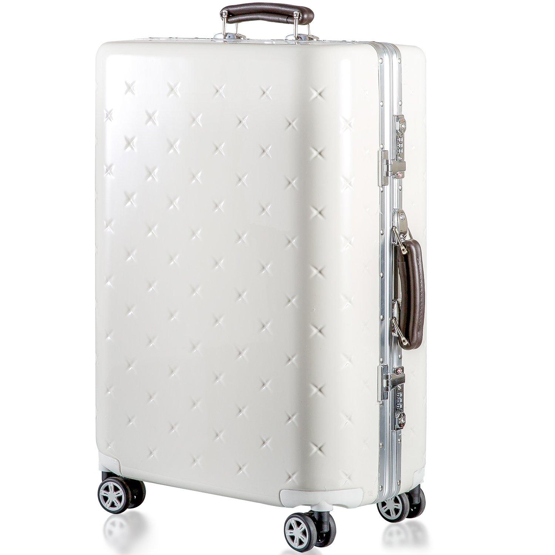 (タノビ)TANOBI スーツケース キャリーケース キャリーバッグ 超軽量 小型 中型 大型 TSAロック搭載 旅行用品 YCL-909 B07334HMKY L|ホワイト ホワイト L
