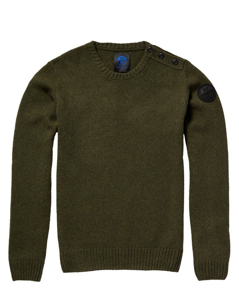 North Sails Man Crew Neck Sweater mit Knöpfen Pullover Kleidung lässig 698299-94