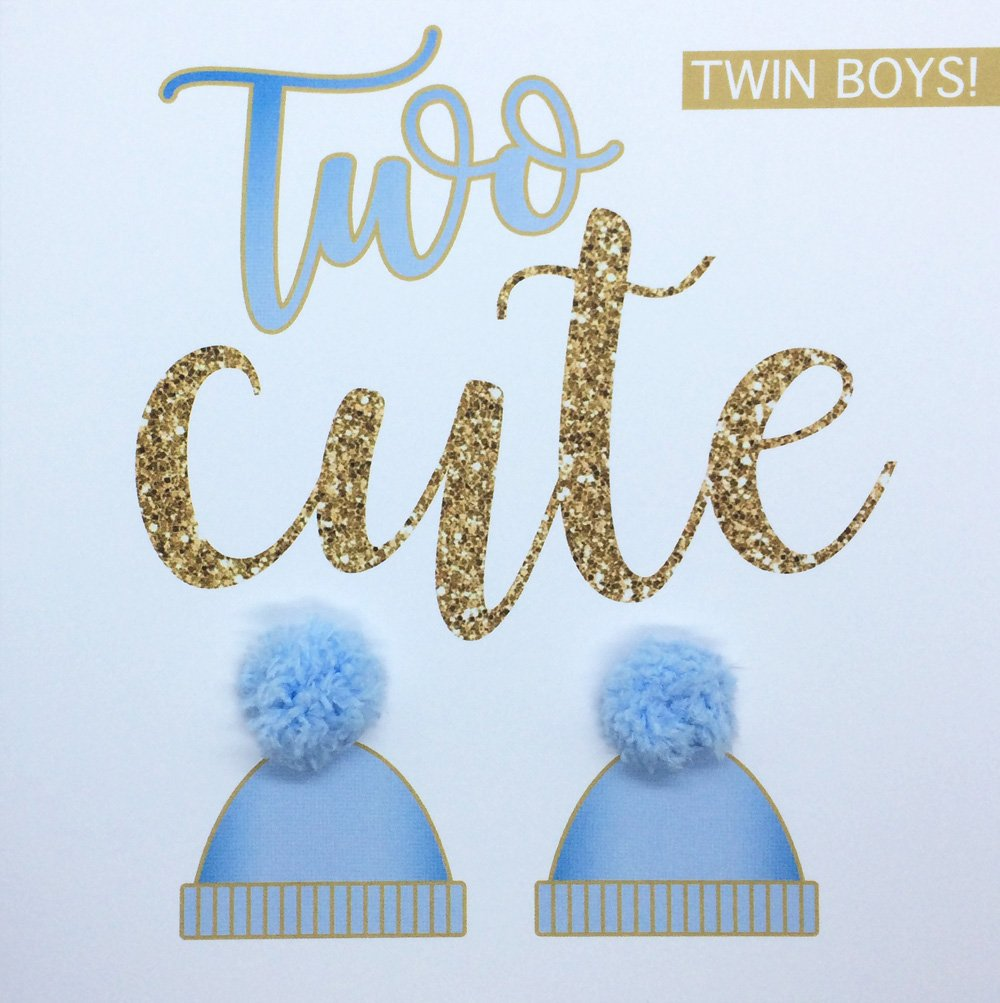 'Two Cute' New Twin Boys Baby Birth Congratulations Announcement Card, Hand Finished with Blue Pompoms PUSHING THE ENVELOPE