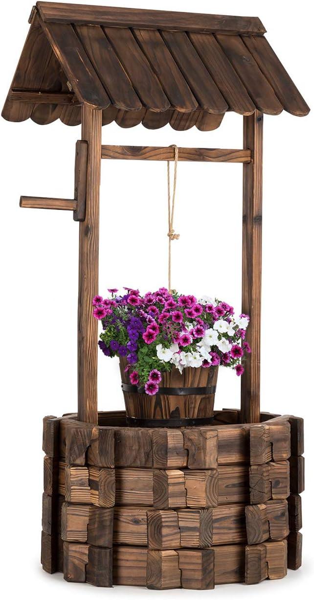Blumfeldt Andernach - Fuente Decorativa, Ornamental Exterior, Fuente de jardín o terraza, Altura 118 cm, Aspecto rústico, Manivela, Cubo para Jardinera, Macetero, Madera marrón