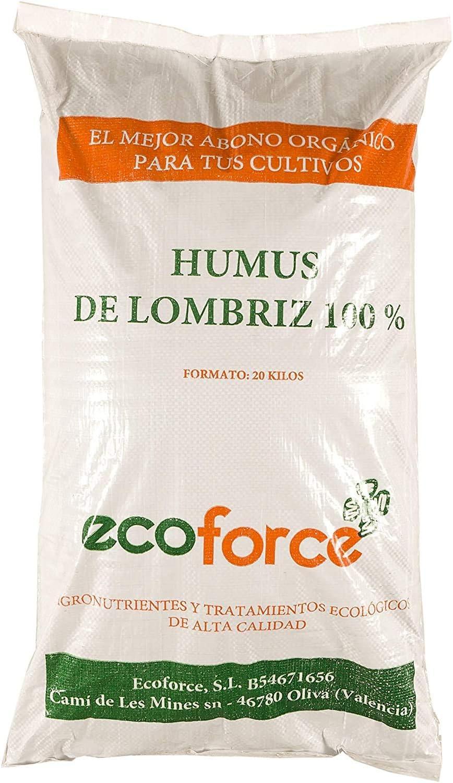 CULTIVERS Humus de Lombriz Ecológico 20 kg (40 L). Abono para plantas indicado para Jardín. Fertilizante Orgánico 100% Natural. Reconstituyente del suelo
