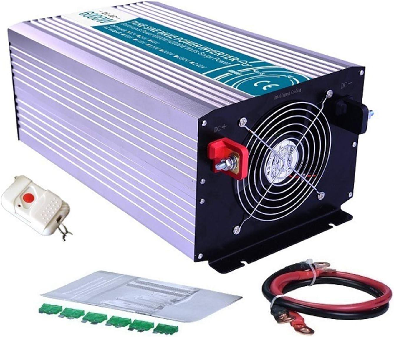 WMNRNYD Inversor de energía Solar de Onda sinusoidal Pura para automóvil DC 12V / 24V / 48V a AC 110V / 220V Convertidor de Voltaje con Control Remoto, 2 Salidas de CA y Pantalla LCD,6000w,24V 220V