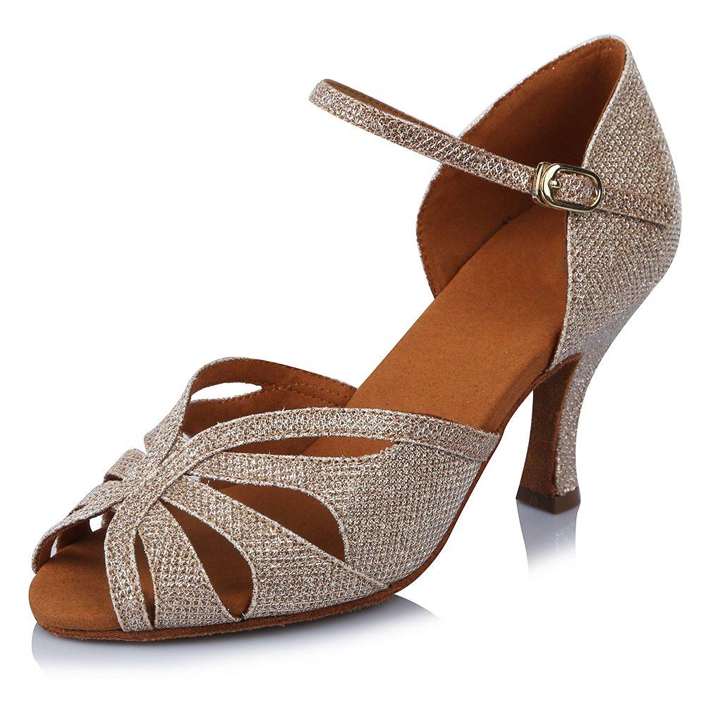 HIPPOSEUS Damen  Mauml;dchen Sandalen Ausgestelltes Tanzschuhe/Ballsaal Standard Strasssteine Satin Latein Dance Schuhe,DEAF435  35 EU|Gold