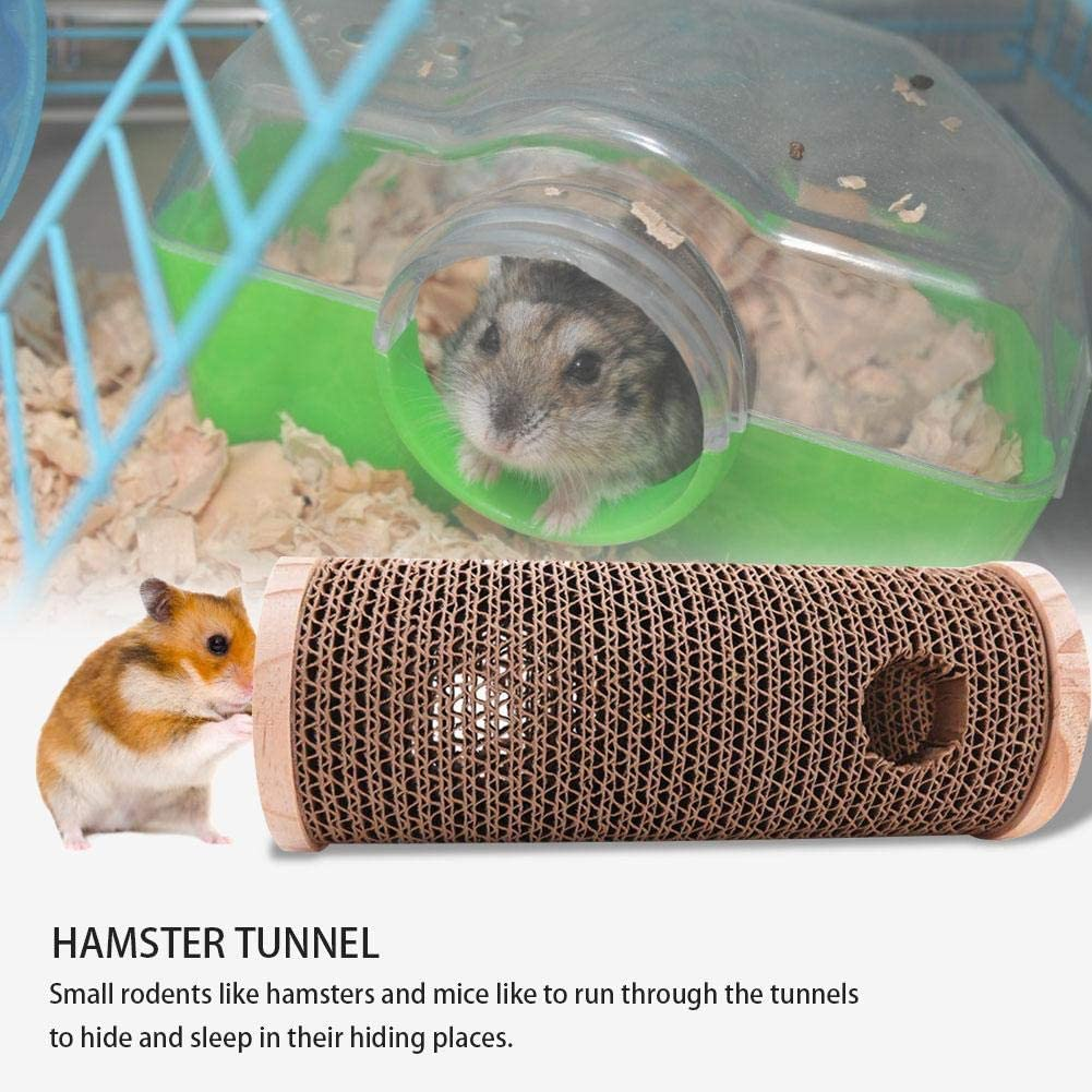 SunniY Natural Wooden Hamster Mouse Tunnel Tube Toy Corrugated Natural Wooden Tunnel Tube Toy Hamster Nest Small Pet Tunnel Toy For Hamsters And Mice