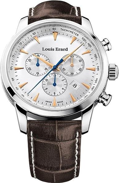 Louis erard men`s 42mm chronograph brown calfskin quartz watch 13900aa11.bdc101