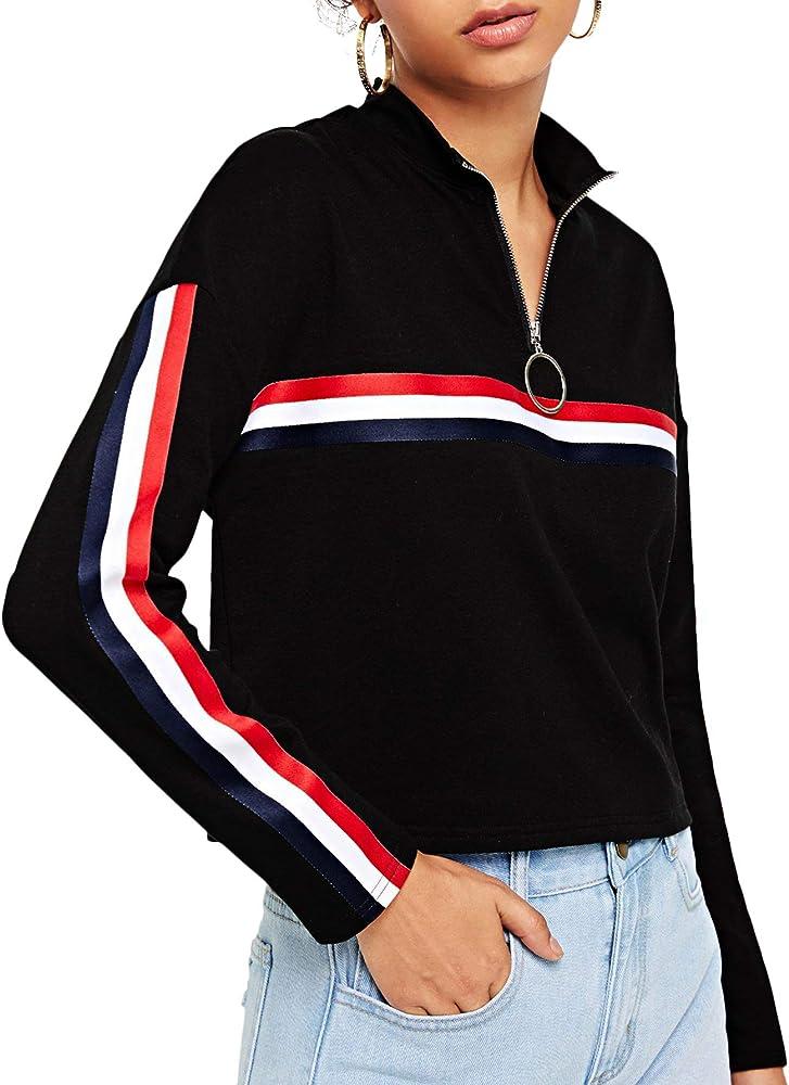 34fcee41cb Amazon.com: SheIn Women's High Neck Striped Zip Front Crop ...