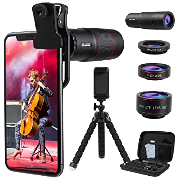 DELLURGO Phone Camera Lens 20x Telephoto Lens 205/° Fisheye Lens 15x Macro Lens 0.63x Wide Angle Lens with Tripod Travel Case Cell Phone Lens Kit for iPhone XR//Xs//Max//8//7//6 Plus//Samsung//Google Pixel