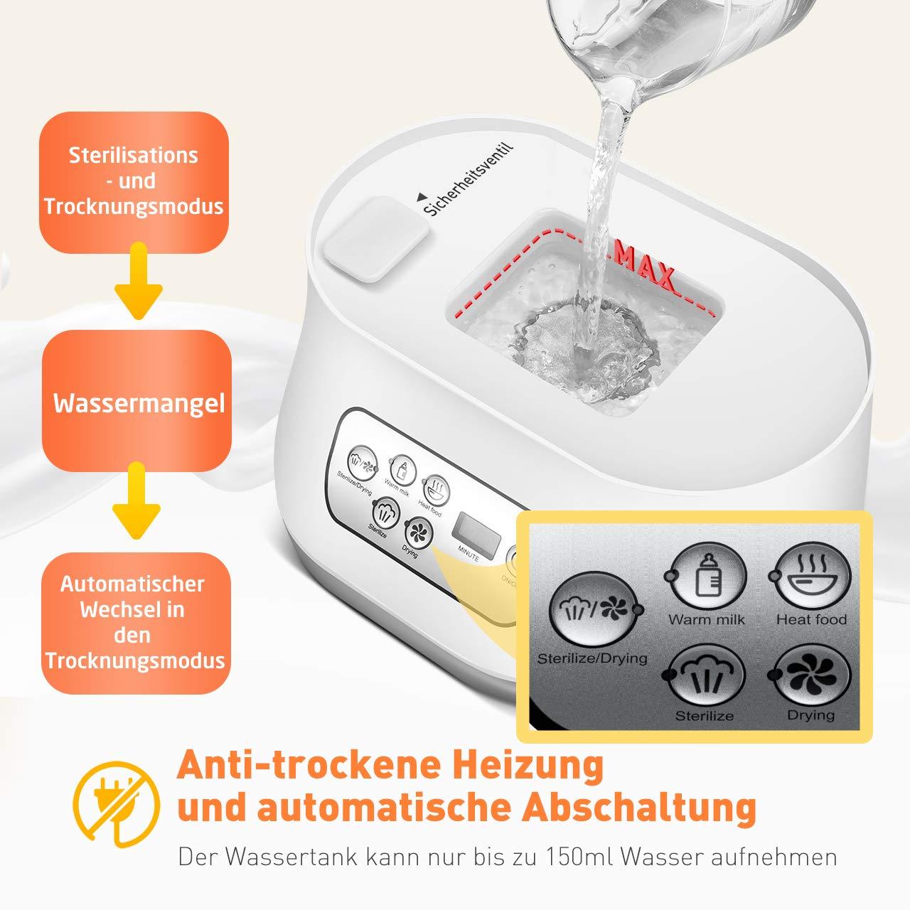 Sauger und Stillzubeh/ör OMORC Sterilisator 5-in-1 Baby Flaschenw/ärmer mit Trocknungsfunktion 550W Dampfsterilisator Vaporisator mit LCD-Anzeige f/ür bis zu 6 Babyfl/äschchen
