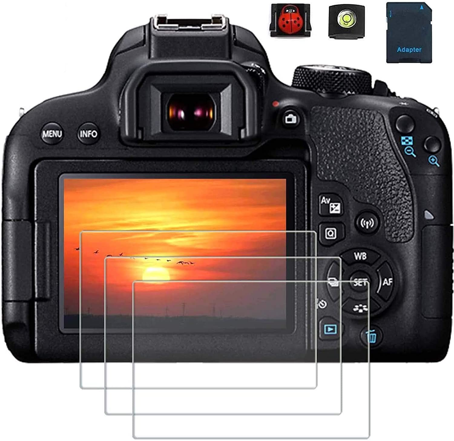 Pack of 3 for Canon EOS 800D Screen Protector Compatible for Canon Reble T7i