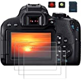 PCTC Screen Protector Compatible for Camera Canon EOS 800D Reble T7i Optical Tempered Glass Film[3 Pack], 2* Hot Shoe…