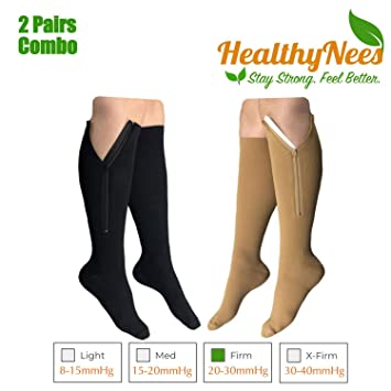 5a43310315d9f5 HealthyNees 2 Pairs Set Closed Toe 20-30 mmHg Zipper Compression Fatigue  Swelling Circulation Knee