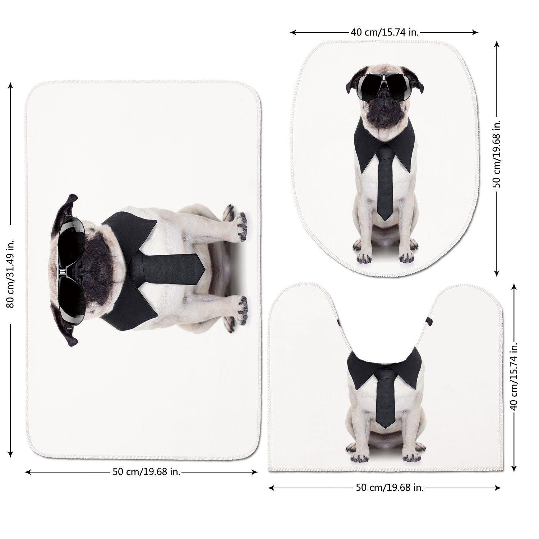 3 Piece Bathroom Mat Set,Pug,Cool Looking Dog Tie and Big Fancy Black Sunglasses Funny Canine Animal Comedy Image Decorative,Black Cream,Bath Mat,Bathroom Carpet Rug,Non-Slip