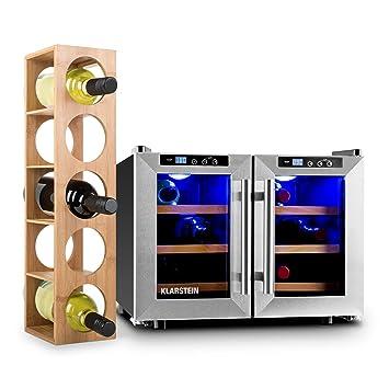 Klarstein Reserva Saloon Set vinoteca y estantería para vino (nevera de 40 litros, acero