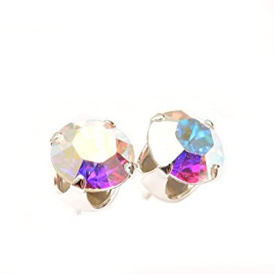 pewterhooter 925 Sterling Silver stud earrings expertly made with multicolour Aurore Boreale crystal from SWAROVSKI® for Women esTXVOk