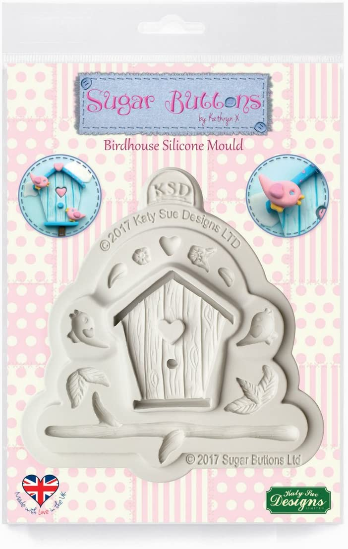 Birdhouse Silicone Mold for Cake Decorating, Crafts, Cupcakes, Sugarcraft, Candies, Card Making and Clay, Food Safe Approved, Made in the UK, Sugar Buttons by Kathryn Sturrock