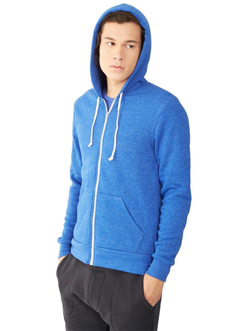 Alternative Mens Rocky Eco-Fleece Zip Hoodie X-Small Eco True Pacific Blue by Alternative