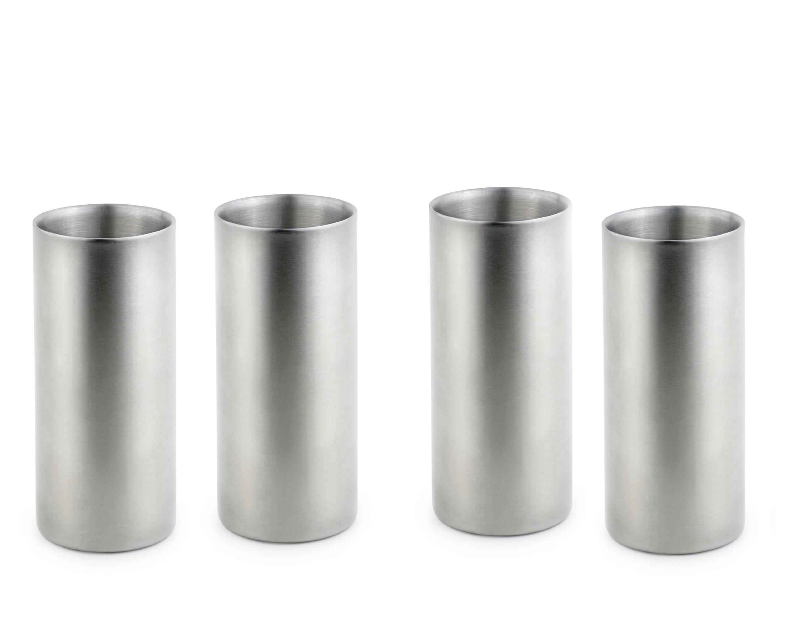 StainlessLUX 77317 Double walled Stainless Steel Drinking Glasses, 12-Ounce/1.5 Cup, Set of 4