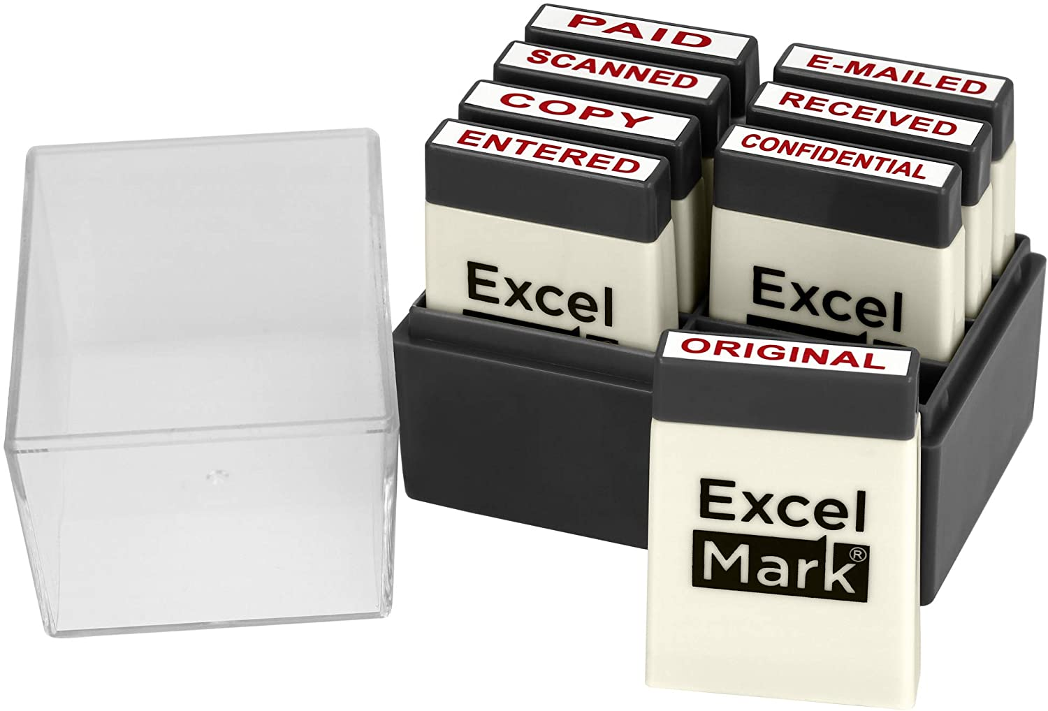 ExcelMark Mini Office Message Rubber Stamp Set - Red Ink - Storage Tray Included