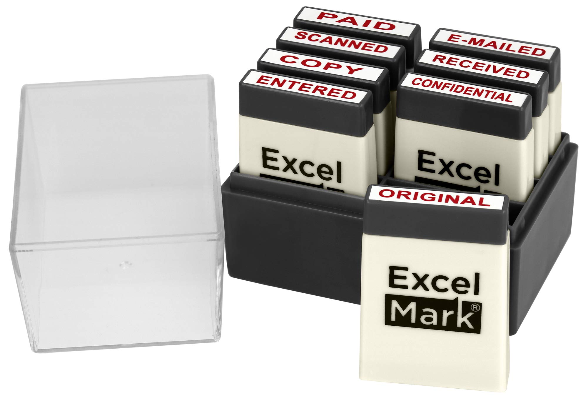 ExcelMark Mini Office Message Rubber Stamp Set - Red Ink - Storage Tray Included by ExcelMark