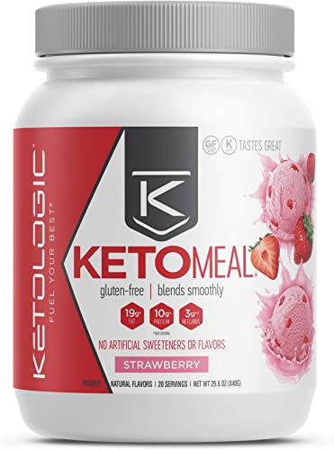 KetoLogic Keto Meal Replacement Shake Powder Strawberry 20 Servings Low Carb, Keto Shake Rich In MCT Oil, Healthy Fats and Whey Protein – Formulated Macros Support Keto Diet Ketosis