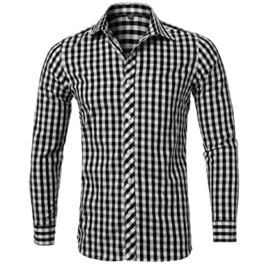 21730917ec Men's Plaid Shirt, 100% Cotton Slim Fit Casual Botton Down Shirts Long  Sleeve Dress