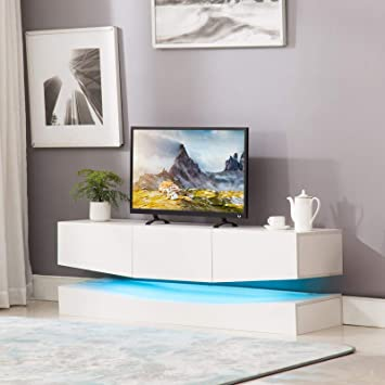 Amazon Com Mecor Floating Tv Stand White Led Lights 47 Inch Wall